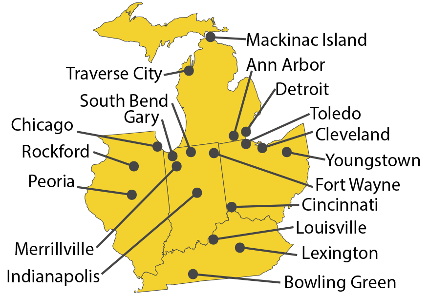 Map showing prior service locations